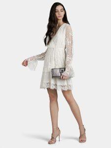 Къса дантелена рокля в бял цвят от Liu Jo