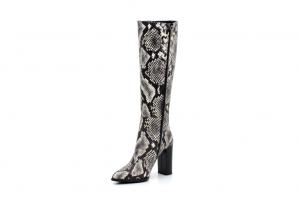 Елегантни бежови дамски ботуши от естествена кожа на висок ток от магазин GiAnni