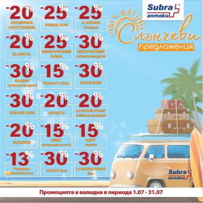 Слънчеви предложения в аптеки Субра